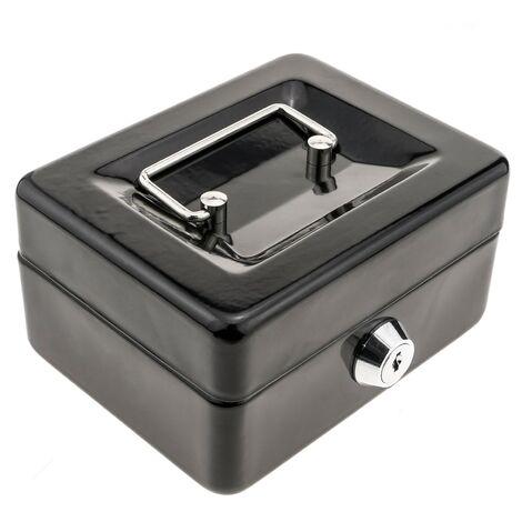 PrimeMatik - Caisse a monnaie et billets Boîte métallique portable en acier 125 x 95 x 55 mm