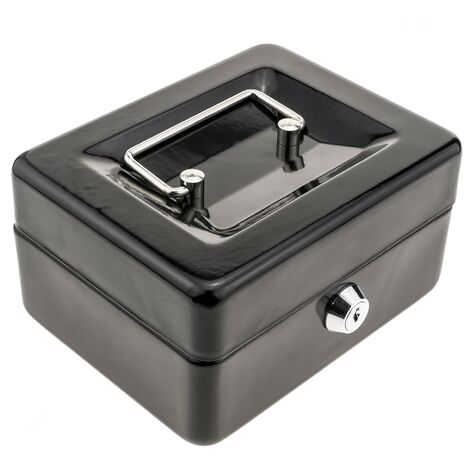 PrimeMatik - Caisse a monnaie et billets Boîte métallique portable en acier 150 x 117 x 80 mm