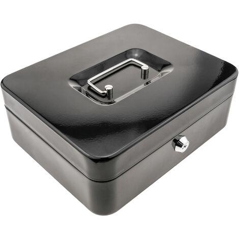 PrimeMatik - Caisse a monnaie et billets Boîte métallique portable en acier 249 x 198 x 88 mm