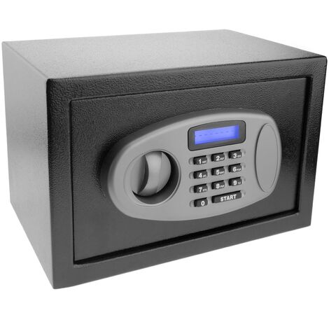 PrimeMatik - Caja fuerte de seguridad de acero con código electrónico digital 31x20x20cm negra