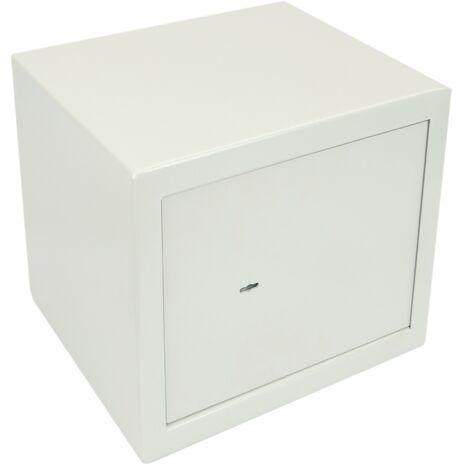 PrimeMatik - Caja fuerte de seguridad de acero ignífuga con llaves 49 x 41 x 47 cm beige