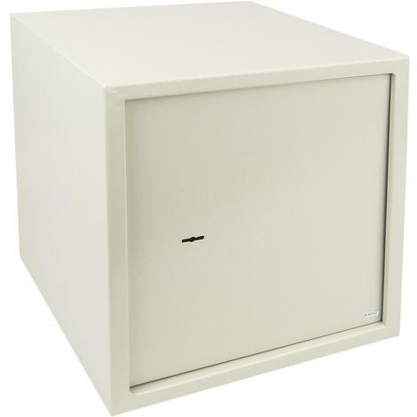 PrimeMatik - Caja fuerte de seguridad de acero y con llaves 35 x 36 x 38 cm beige