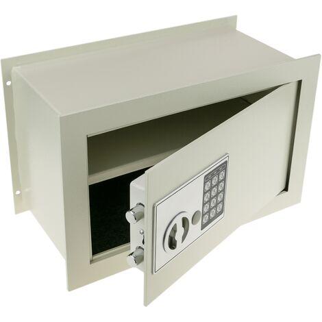 PrimeMatik - Caja fuerte de seguridad empotrada con código electrónico digital 36x19x23cm beige