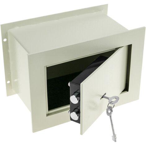 PrimeMatik - Caja fuerte de seguridad empotrada de acero con llaves 26x15x18cm beige