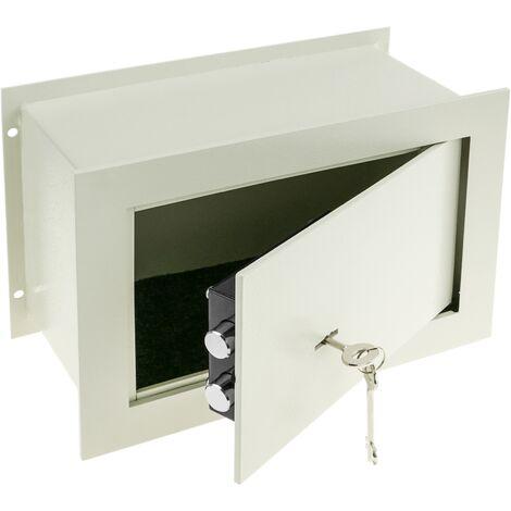 PrimeMatik - Caja fuerte de seguridad empotrada de acero con llaves 31x15x21cm beige