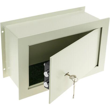 PrimeMatik - Caja fuerte de seguridad empotrada de acero con llaves 36x15x23cm beige