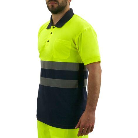 PrimeMatik - Camiseta tipo polo de manga corta reflectante amarillo azul para seguridad laboral de talla L