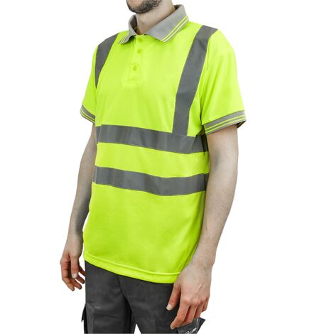 PrimeMatik - Camiseta tipo polo de manga corta reflectante amarillo para seguridad laboral de talla L