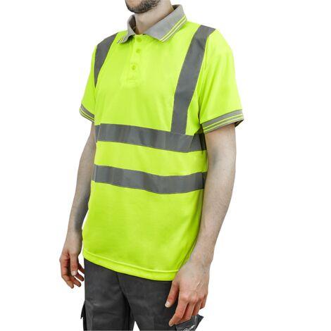PrimeMatik - Camiseta tipo polo de manga corta reflectante amarillo para seguridad laboral de talla XL
