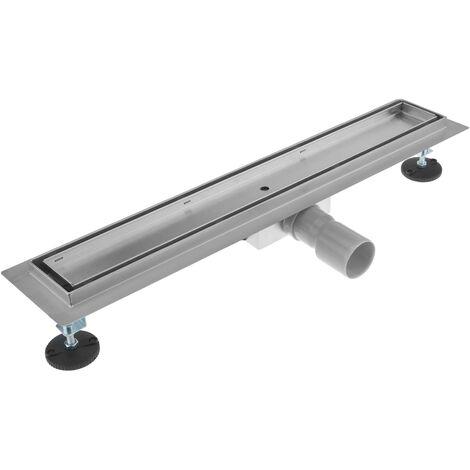 PrimeMatik - Canaleta de desagüe para ducha 70x7 cm para azulejo en acero inoxidable