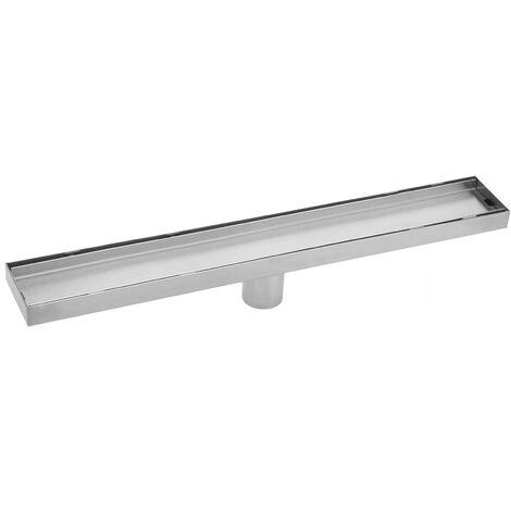 PrimeMatik - Caniveau de drainage de douche 6.8x100cm en acier inoxydable pour carrelage matte