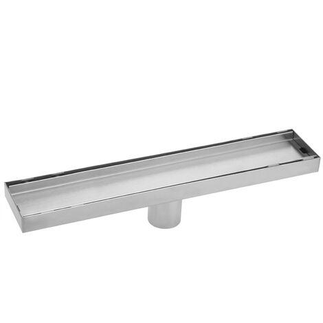 PrimeMatik - Caniveau de drainage de douche 6.8x70cm en acier inoxydable pour carrelage matte