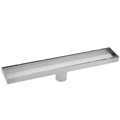 PrimeMatik - Caniveau de drainage de douche 6.8x80cm en acier inoxydable pour carrelage matte