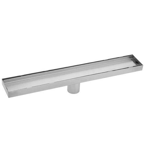 PrimeMatik - Caniveau de drainage de douche 6.8x90cm en acier inoxydable pour carrelage matte