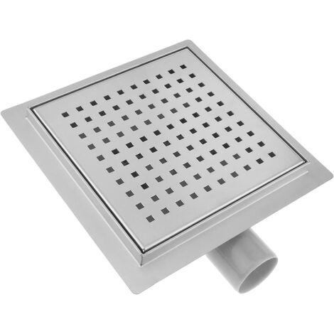 PrimeMatik - Caniveau de drainage de douche carré 20 cm en acier inoxydable avec grille