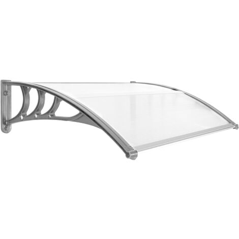 PrimeMatik - Canopy awning for door and window 100x80cm Patio cover shelter gray