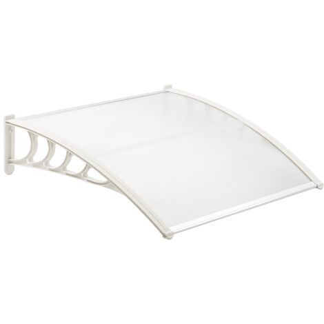 PrimeMatik - Canopy awning for door and window 150x80 cm transparent. Patio cover shelter with white support