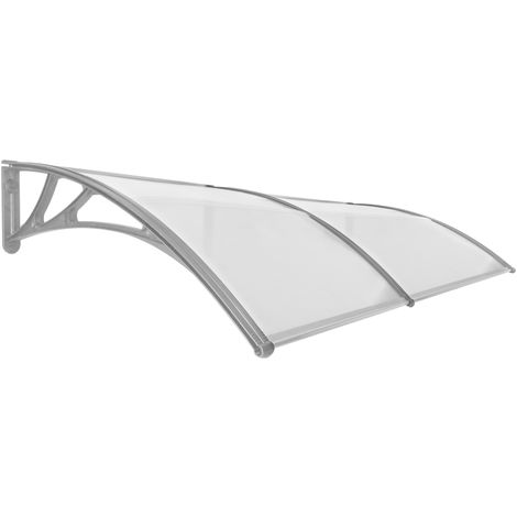PrimeMatik - Canopy awning for door and window 200x100cm Patio cover shelter gray