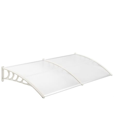 PrimeMatik - Canopy awning for door and window 200x90 cm transparent. Patio cover shelter with white support