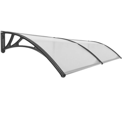PrimeMatik - Canopy awning for door and window 240x100cm Patio cover shelter black