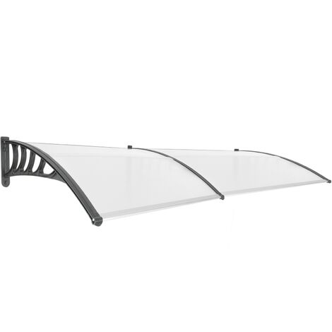 PrimeMatik - Canopy awning for door and window 240x90cm Patio cover shelter black