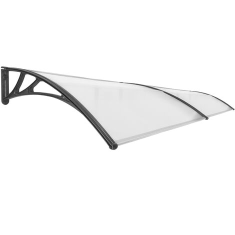 PrimeMatik - Canopy awning for door and window 300x100cm Patio cover shelter black