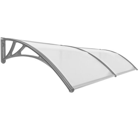 PrimeMatik - Canopy awning for door and window 300x100cm Patio cover shelter gray