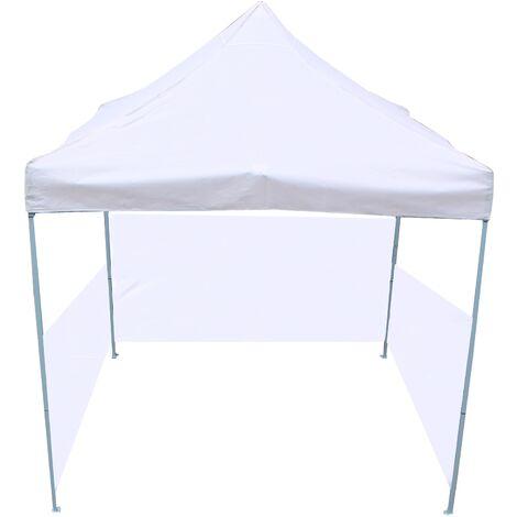 PrimeMatik - Carpa plegable 300x300cm tienda blanca con telas laterales