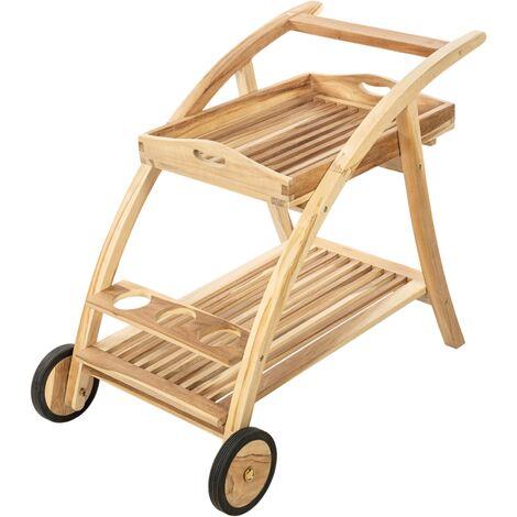 PrimeMatik - Carro de servicio 100 x 81 x 58 cm para exterior de madera de teca certificada