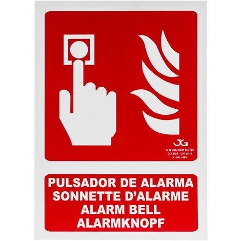 PrimeMatik - Cartel de pulsador de alarma homologado de 21 x 30 cm. Señal luminiscente