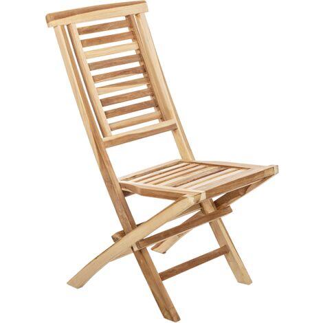 PrimeMatik - Chaise pliante d'extérieur en bois de teck certifié