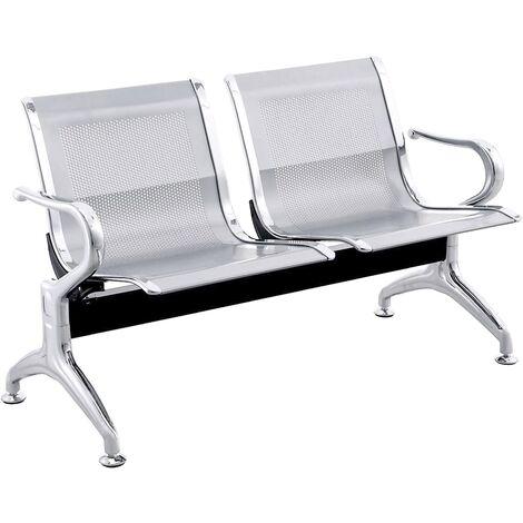 PrimeMatik - Chaises sur poutre pour salle d'attente avec 2 sièges ergonomique d'argent