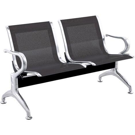 PrimeMatik - Chaises sur poutre pour salle d'attente avec 2 sièges ergonomique noir