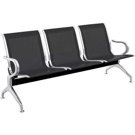 PrimeMatik - Chaises sur poutre pour salle d'attente avec 3 sièges ergonomique noir