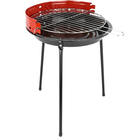PrimeMatik - Charcoal barbecue 33 cm with legs BBQ grill for garden and camping