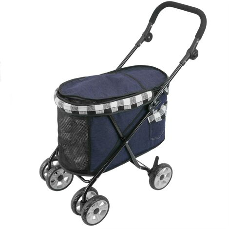 PrimeMatik - Children's pet travel stroller to transport dogs and cats. Pushchair in white color