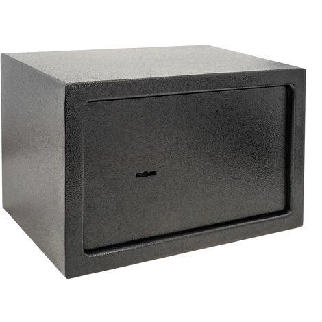PrimeMatik - Coffre-fort mural de sécurité en acier à clé 31 x 20 x 20 cm noir