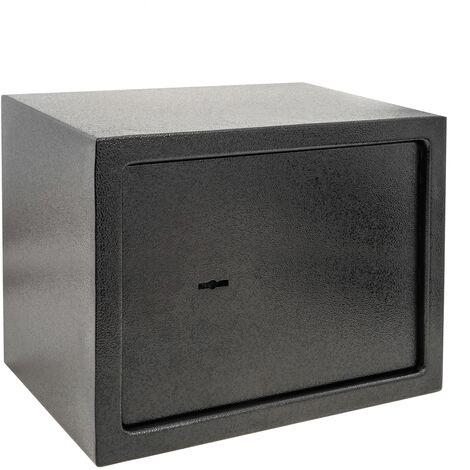 PrimeMatik - Coffre-fort mural de sécurité en acier à clé 35 x 25 x 25 cm noir