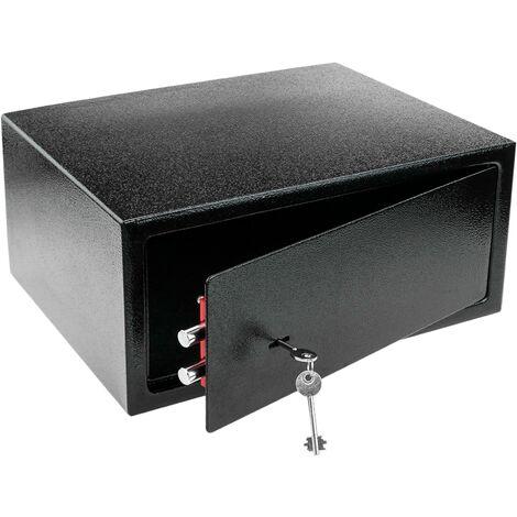PrimeMatik - Coffre-fort mural de sécurité en acier à clé 43 x 35 x 20 cm noir