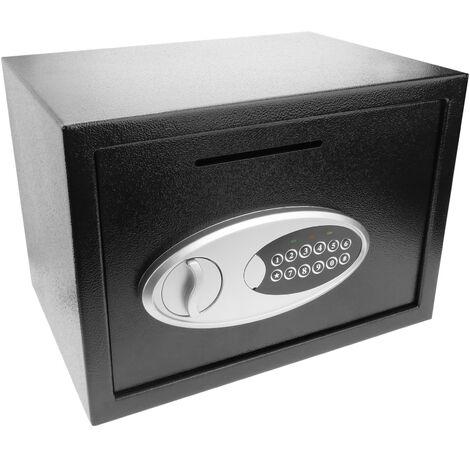 PrimeMatik - Coffre-fort mural de sécurité en acier à clé avec rainure 35x25x25cm noir