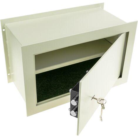 PrimeMatik - Coffre-fort mural de sécurité en retrait en acier à clé 40x20x25cm beige