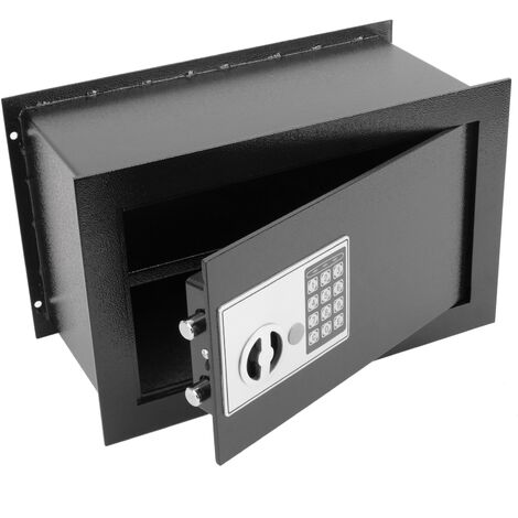 PrimeMatik - Coffre-fort mural en retrait de sécurité à code électronique numérique 40x20x25cm noir