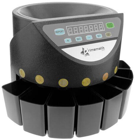 PrimeMatik - Compteuse et trieuse de pièces et monnaie de euro DB360 noir