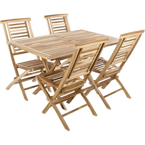 PrimeMatik - Conjunto de mesa 135 x 85 cm y 4 sillas para jardín exterior de madera de teca certificada