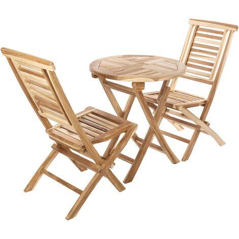 PrimeMatik - Conjunto de mesa redonda 66 cm y 2 sillas para jardín exterior de madera de teca certificada