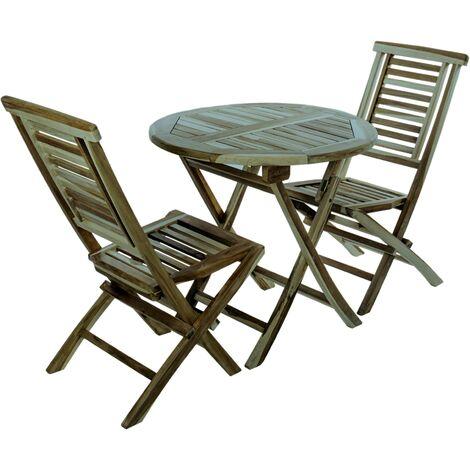 PrimeMatik - Conjunto de mesa redonda 80 cm y 2 sillas para jardín exterior de madera de teca certificada
