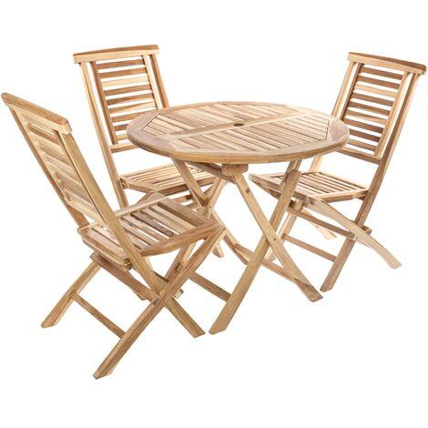 PrimeMatik - Conjunto de mesa redonda 90 cm y 3 sillas para jardín exterior de madera de teca certificada