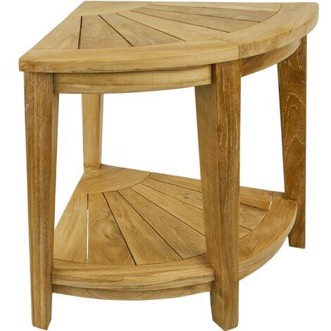 PrimeMatik - Corner Bathroom stool with shelf 45 x 50 x 45 cm Certified Teak
