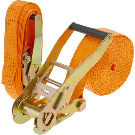 PrimeMatik - Correa de sujeción con trinquete 50 mm x 5 m 5000 kg naranja (pack 2)
