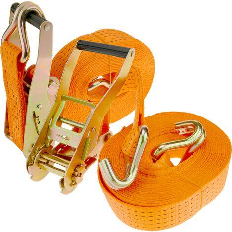 PrimeMatik - Correa de sujeción con trinquete 50 mm x 8 m 5000 kg naranja (pack 2)